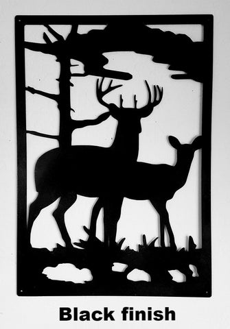 Deer & Doe Metal Wildlife Scene. Gate Insert or Wall Art horseflymetalart.com