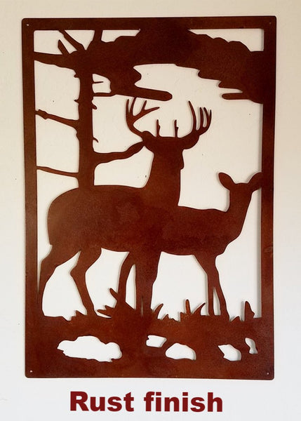 Metal Deer & Doe Wildlife Scene. Gate Insert or Wall Art horseflymetalart.com