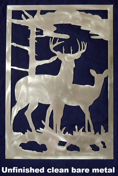 Metal Deer scene. Wildlife Wall Art horseflymetalart.com