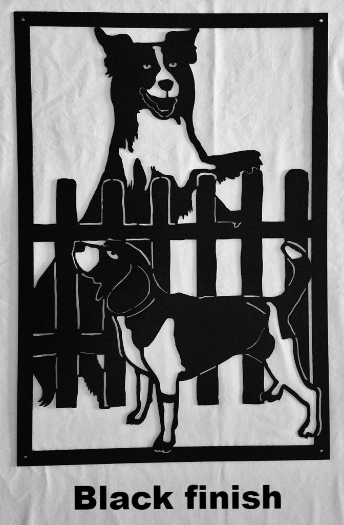 Dog Metal Wall Art or Gate Insert Silhouette. Dog and Hound Metal Wall Art