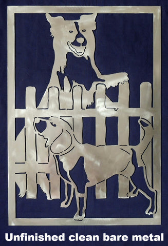 Dogs and Hound metal wall art. Dog Gate Insert horseflymetal.com
