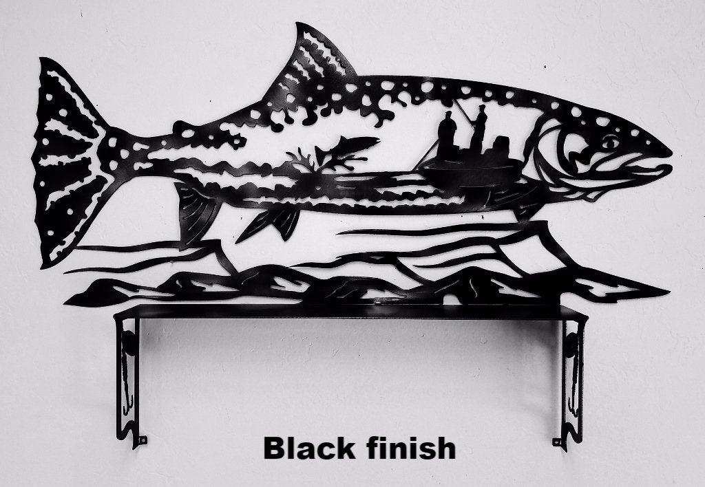 Fish & shelf metal wall art. Fish Wildlife wall hanging. Trout wall art horseflymetalart.com