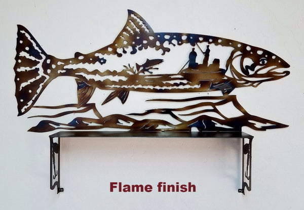 Trout shelf metal wall art Fish wall decor horseflymetalart.com