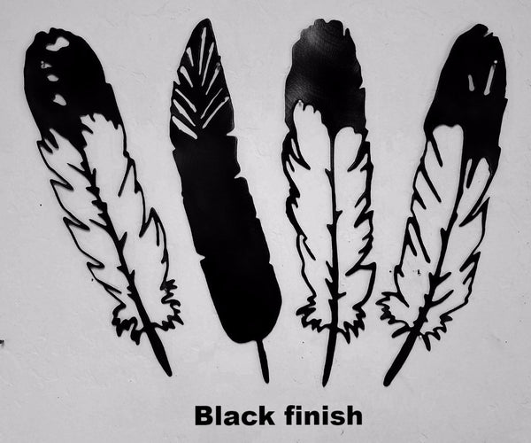 Metal Feather wall art silhouettes. Feather wall art decor horseflymetalart.com