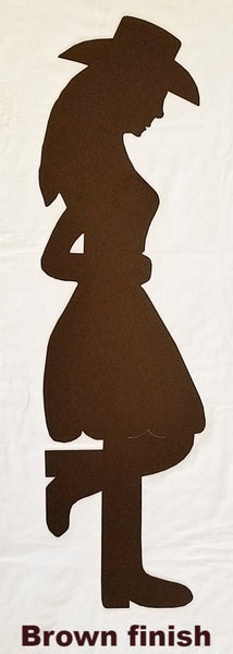 Metal Sleeping Cowgirl wall art. Cowgirl yard art silhouette. Life size metal Sleeping Cowgirl.