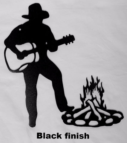 Western Cowboy and Guitar metal wall art silhouette Western Cowboy metal wall art