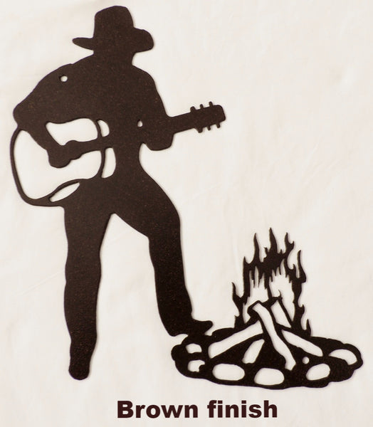 Metal Cowboy and Guitar wall hanging. Western Cowboy metal wall art. Cowboy and Guitar metal wall art