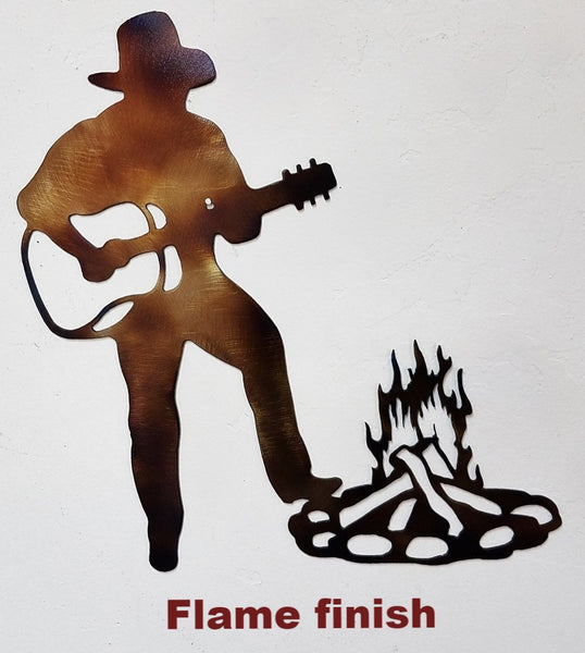 Cowboy and Guitar metal wall art. Western Cowboy metal wall art