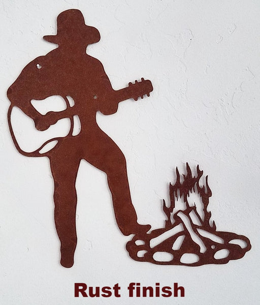 Cowboy and Guitar metal wall art. Western Cowboy metal wall art. Cowboy metal wall hanging