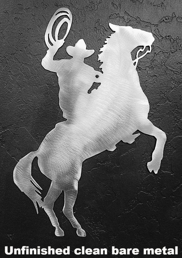 Horse and Cowboy metal Wall Art. Metal Cowboy with Lariat metal wall art silhouette