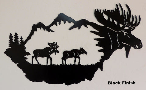 Moose Wildlife metal wall art. Moose Scene wall hanging horseflymetalart.com