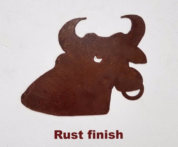 Bull metal wall art silhouette. Bull wall hanging. Bull head metal wall art.