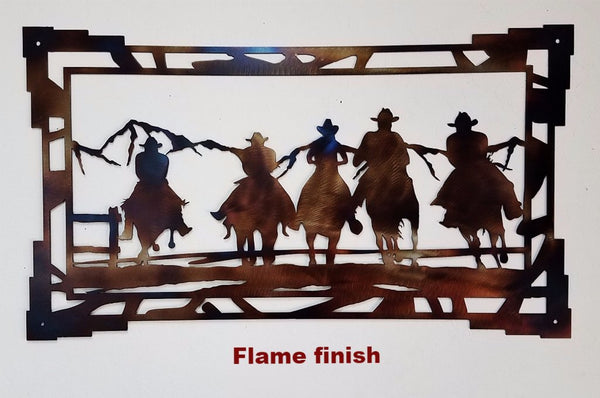 Cowboys Riding metal wall art. Cowboy and Horse metal wall art