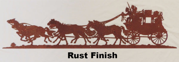 Rustic Stagecoach metal wall art silhouette horseflymetal.com