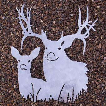 Buck & Doe metal Wildlife wall art silhouette. Deer wall hanging  horseflymetalart.com