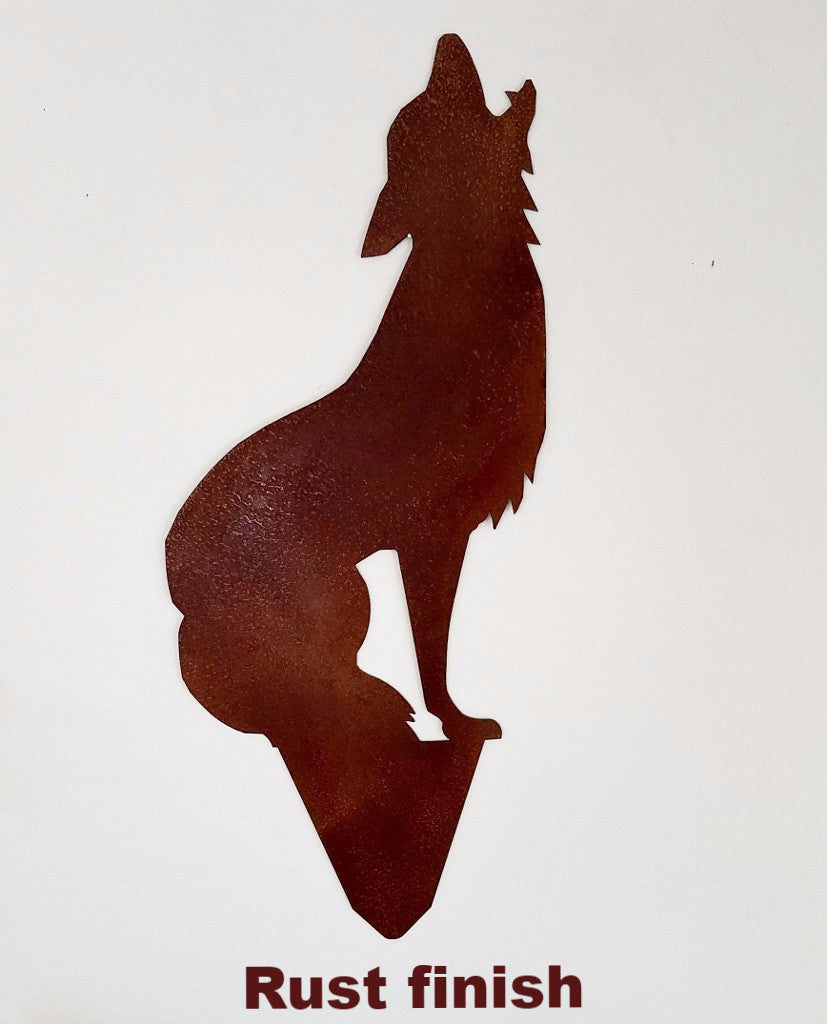 cool Coyote metal yard art. Howling Coyote metal garden Art