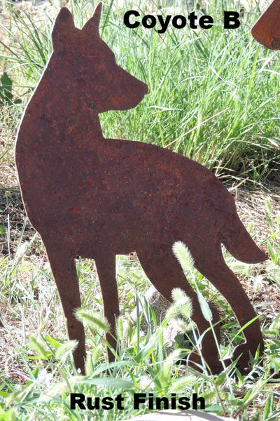 Metal Coyote Silhouette. Coyote Family Lawn Art.