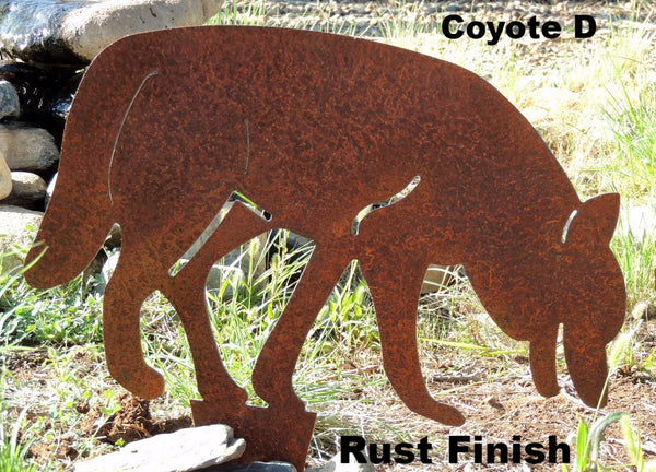 Coyote Family Yard Art. Metal Coyote Silhouette