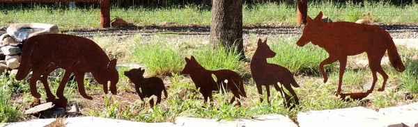 Coyote yard art silhouettes. Coyote family lawn art.