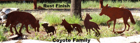 Metal Coyote Yard Art and Garden Art. Coyote Family Yard Art. Metal Coyote Silhouette