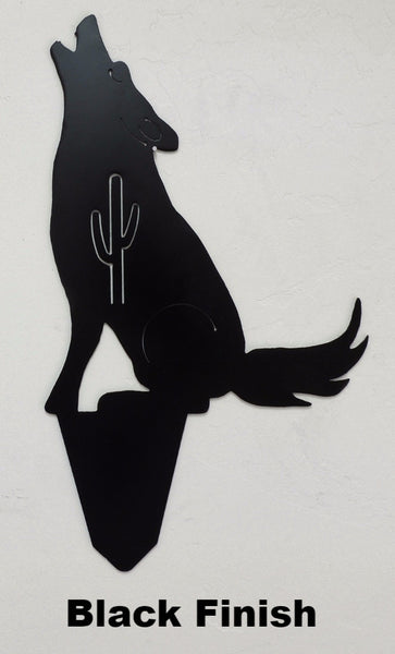 Coyote Metal Yard Art. Southwest Metal Coyote Yard Art Silhouettes. Metal Howling Coyote Yard Art