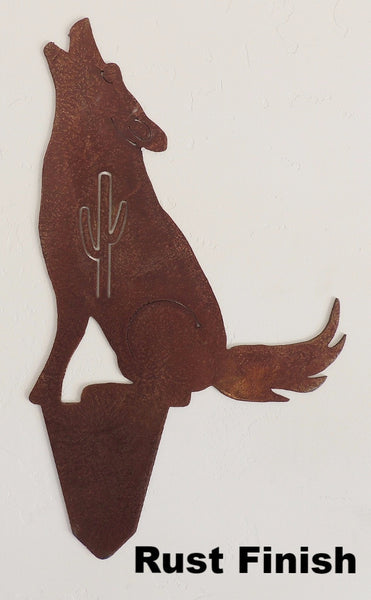 Southwest Metal Coyote Yard Art Silhouettes. Metal Howling Coyote Yard Art or Garden Art