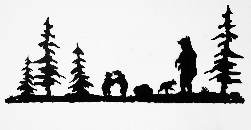 Bear and Cubs metal wall art silhouette