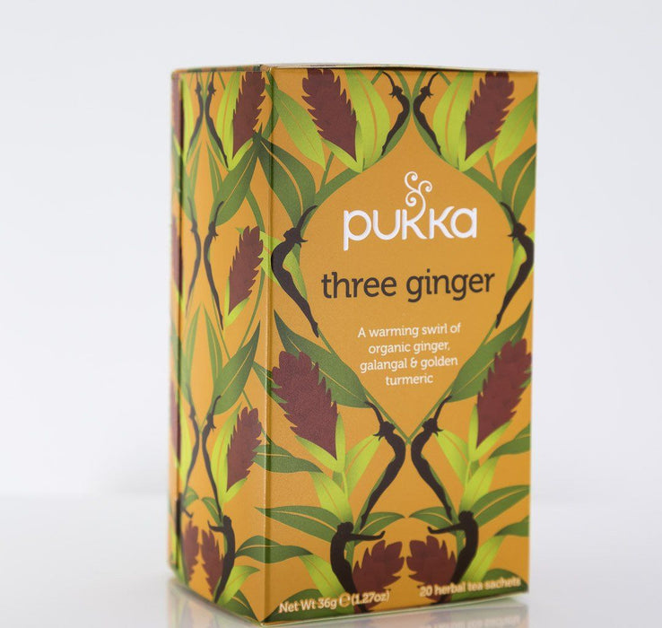 Pukka Herbs - Three Ginger Tea Blend - 1 Box of 20 Bags - Tea - Hardin's Natural Foods