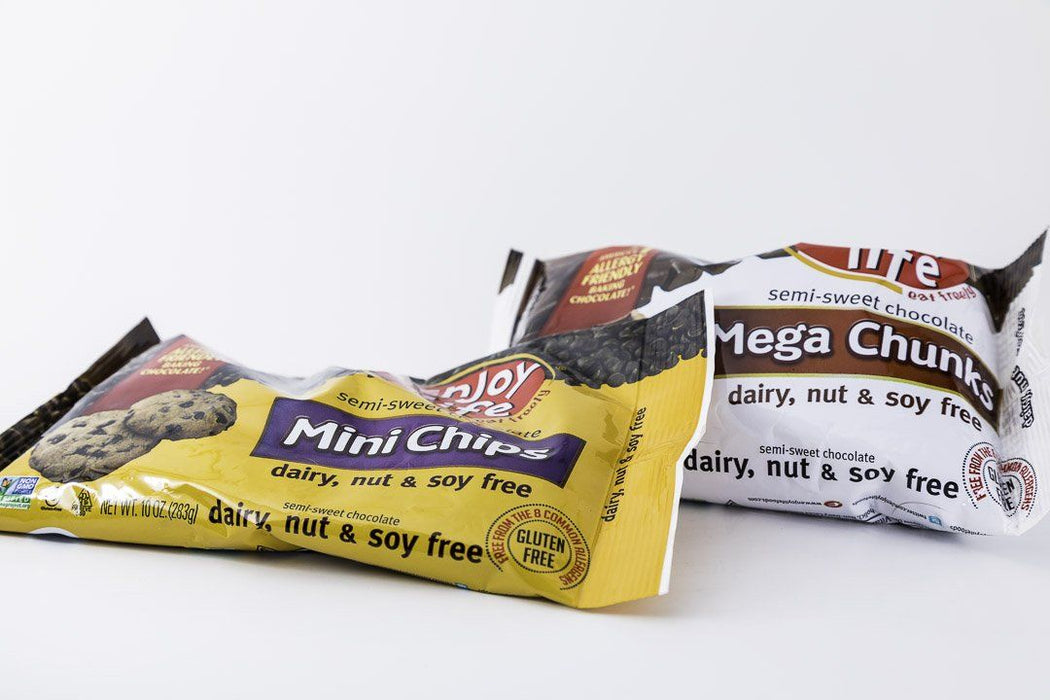 Enjoy Life - Variety Pack 1 Bag of Mega Chunks and Mini Chips Semi-Sweet Allergen Free Baking Chocolate -10 oz Bags - Chocolate - Hardin's Natural Foods