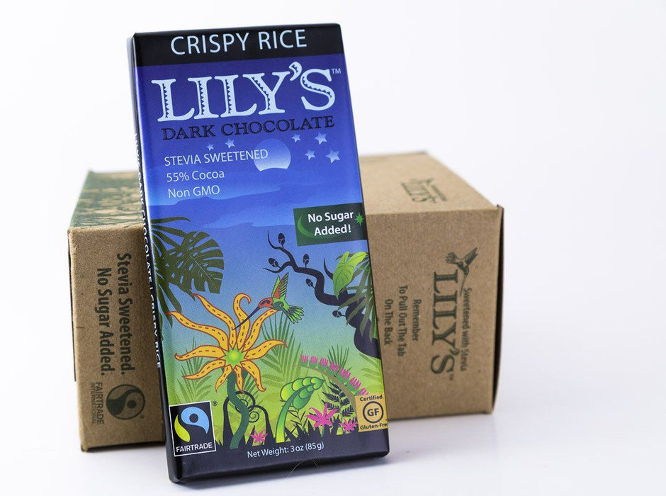 Lily's Sweets - Crispy Rice Dark Chocolate Bars 3oz - Case of 12 - Chocolate - Hardin's Natural Foods