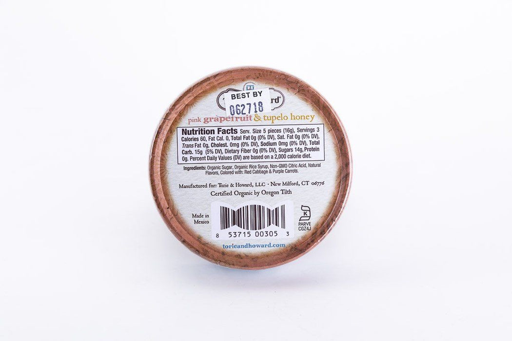 Torie & Howard - Pink Grapefruit & Tupelo Honey Hard Candy - 2 oz Tin - Candy - Hardin's Natural Foods