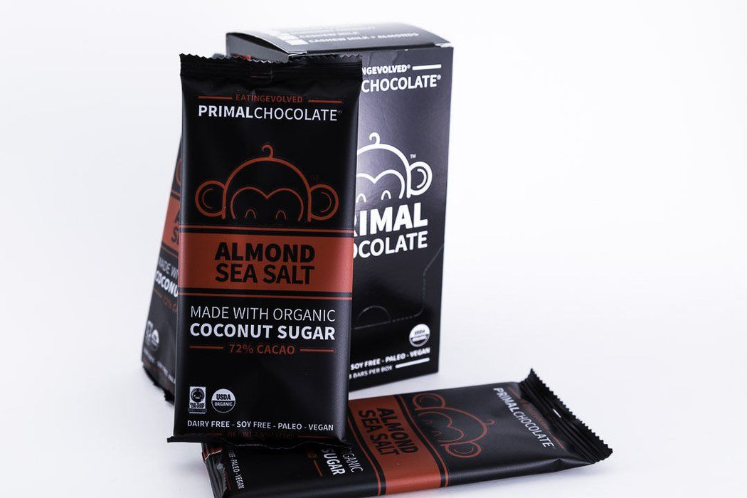 Eating Evolved - Primal Chocolate - Almond Sea Salt - 72% Dark Paleo Chocolate - Box of 8, 2.5oz Bars - Chocolate - Hardin's Natural Foods