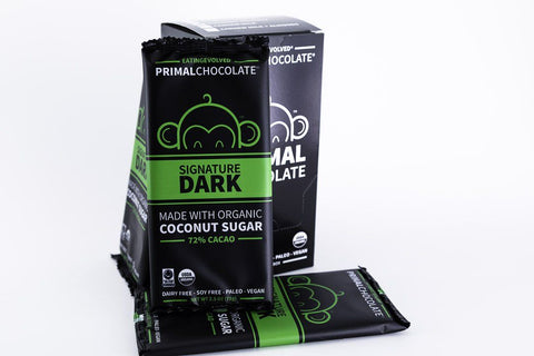 Eating Evolved - Primal Chocolate - Signature Dark - 72% Dark Paleo Chocolate - Box of 8, 2.5oz Bars