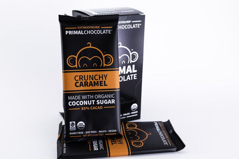 Eating Evolved - Primal Chocolate - Crunchy Caramel - 85% Dark Paleo Chocolate - Box of 8, 2.5oz Bars