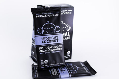 Eating Evolved - Primal Chocolate - Midnight Coconut - 100% Dark Paleo Chocolate, No Sugar - Box of 8, 2.5oz Bars
