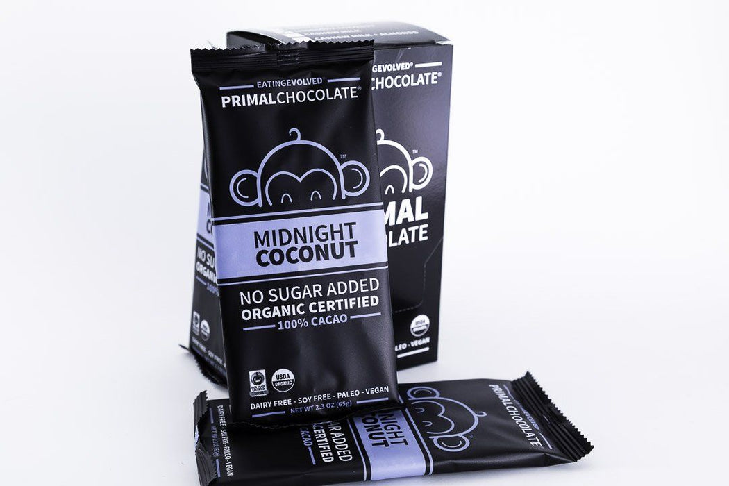 Eating Evolved - Primal Chocolate - Midnight Coconut - 100% Dark Paleo Chocolate, No Sugar - Box of 8, 2.5oz Bars - Chocolate - Hardin's Natural Foods