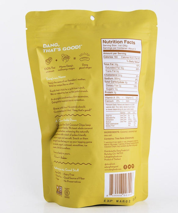 Dang Foods - Caramel Sea Salt Paleo Coconut Chips - 3 oz Bag - Grain Free - Chips - Hardin's Natural Foods