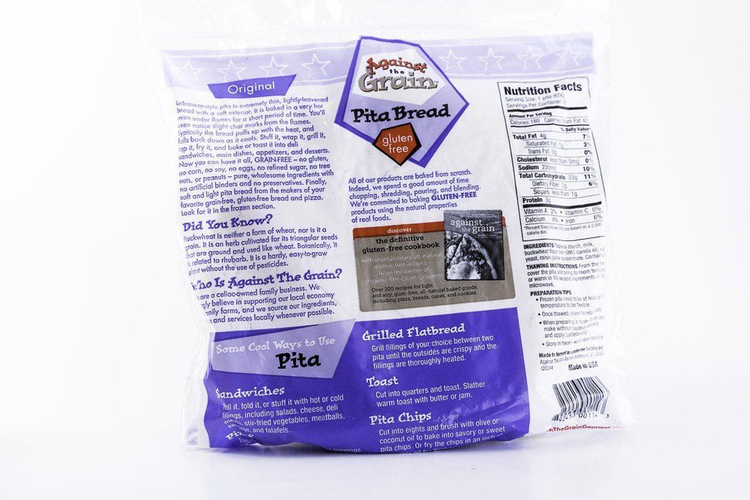 "Against the Grain Gourmet - 7"" Pita Bread - 1 Bag of 6 - Frozen - Hardin's Natural Foods"