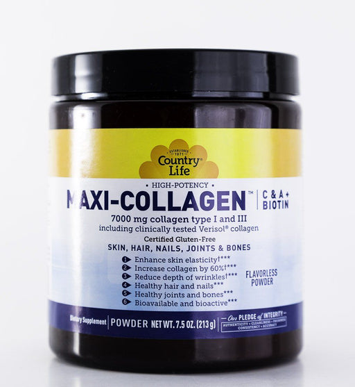 Country Life - Maxi-Collagen - C&A + Biotin - Flavorless Powder - 7.5oz Jar