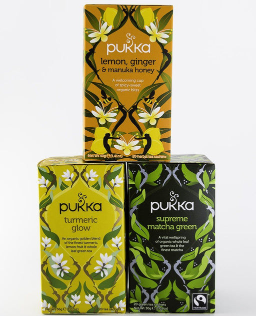 Pukka Tea - Glowing 3 Pack - 1 Box of Lemon/Ginger/Manuka Honey, Turmeric Glow, & Supreme Matcha Green - Tea - Hardin's Natural Foods