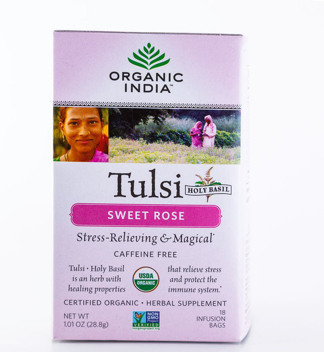 Organic India - Tulsi Sweet Rose Tea - 18 Tea Bags, 1.01 oz - Holy Basil - Tea - Hardin's Natural Foods