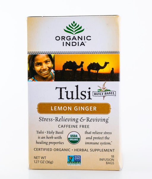 Organic India - Tulsi Lemon Ginger Tea - 18 Tea Bags, 1.01 oz - Holy Basil - Tea - Hardin's Natural Foods