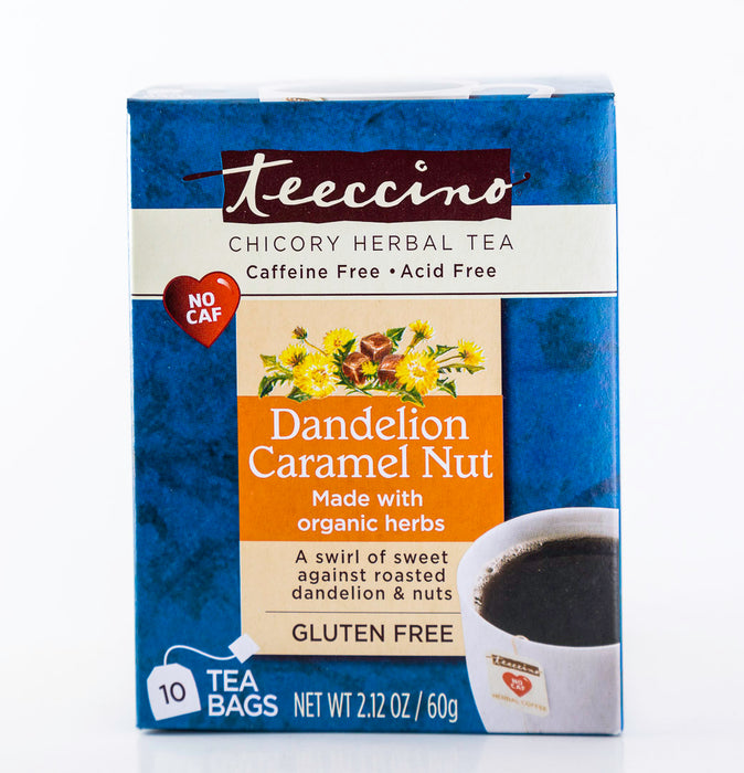 Teeccino - Dandelion Caramel Nut Roast - Chicory Herbal Tea - 10 Tea Bags - Tea - Hardin's Natural Foods