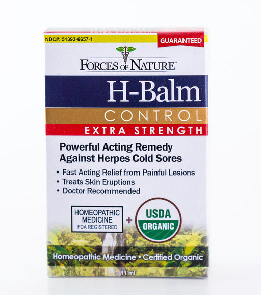 Forces of Nature - H-Balm Control, Extra Strength - 11ml Bottle of Homeopathic Herpes Medicine - Supplement - Hardin's Natural Foods