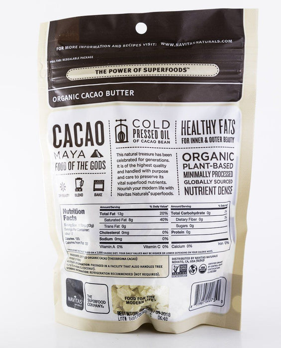 Navitas Organics - Organic Cacao Butter - 8 oz Bag - Maya Superfood - Baking Supplies - Hardin's Natural Foods
