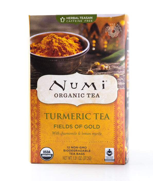 Numi - Turmeric Fields of Gold - Organic Herbal Tea - 12 Tea Bags - Tea - Hardin's Natural Foods