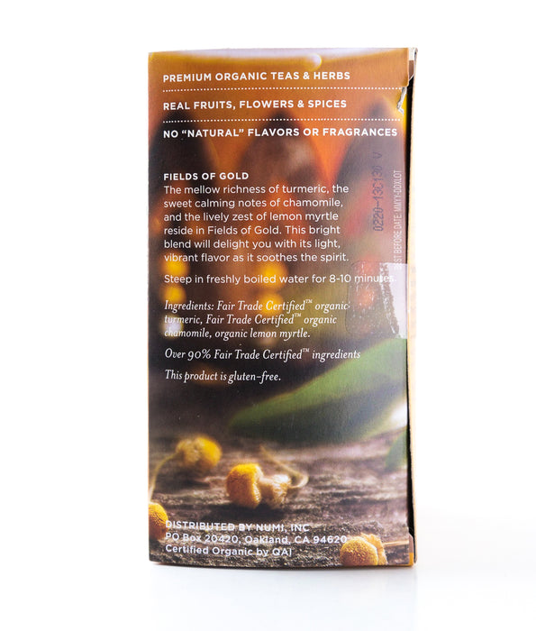 Numi - Turmeric Fields of Gold - Organic Herbal Tea - 12 Tea Bags