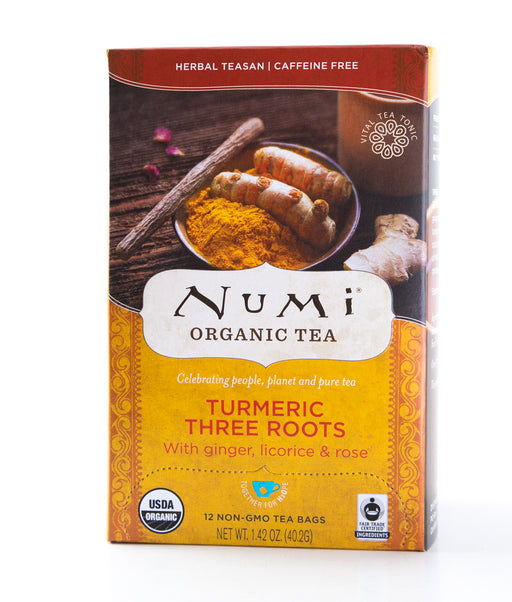Numi - Turmeric Three Roots - Organic Herbal Tea - 12 Tea Bags