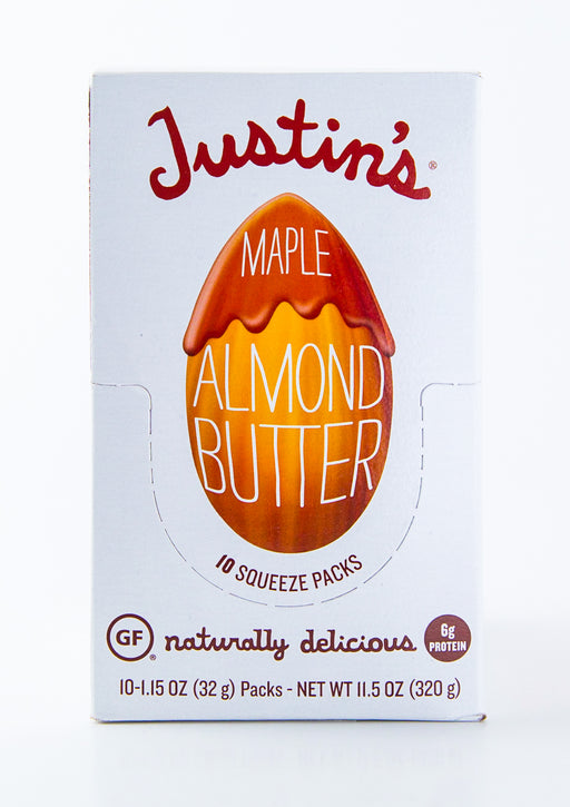 Justin's - Maple Almond Butter Packets - Case of 10-1.15 oz Packs (11.5 oz Box)