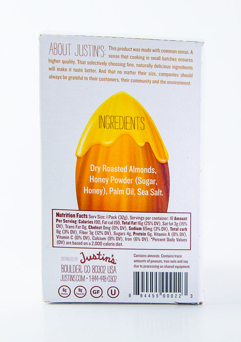 Justin's - Honey Almond Butter Packets - Case of 10-1.15 oz Packs (11.5 oz Box) - Groceries - Hardin's Natural Foods